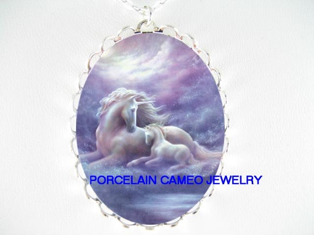 PURPLE UNICORN HORSE MOM CUDDLE BABY PORCELAIN CAMEO NECKLACE