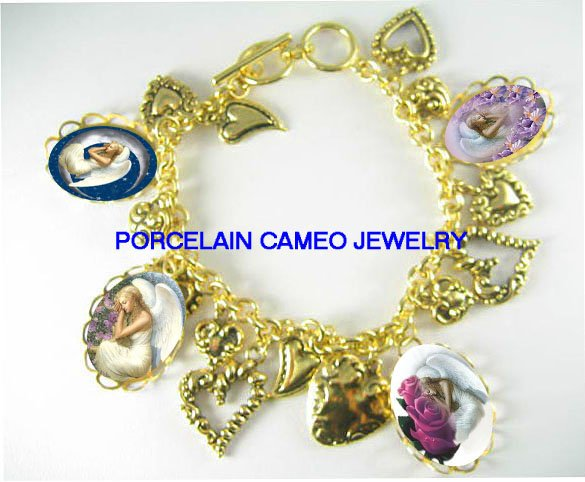 SLEEP ANGEL MOON ROSE IRIS 13 HEART CHARM BRACELET