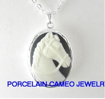 3D WHITE BLACK STALLION HORSE CAMEO LOCKET NECKLACE