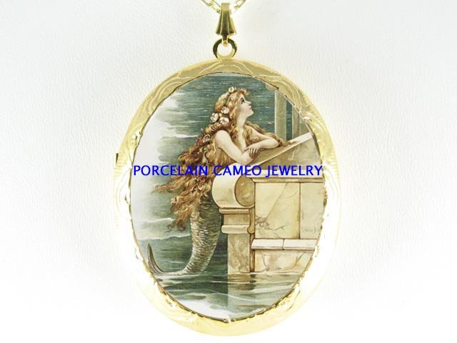 VICTORIAN MERMAID PORCELAIN CAMEO LOCKET NECKLACE