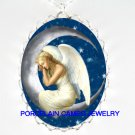 SLEEPING ANGEL CRESCENT MOON PORCELAIN CAMEO NECKLACE
