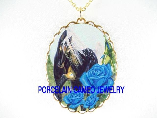 BLACK APPALOOSA HORSE WITH BLUE ROSE* CAMEO PORCELAIN NECKLACE