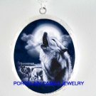 3 BLUE WOLF HOWLING MOON PORCELAIN CAMEO LOCKET NECKLACE