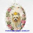 CROWN YORKSHIRE DOG ROSE CAMEO PORCELAIN NECKLACE
