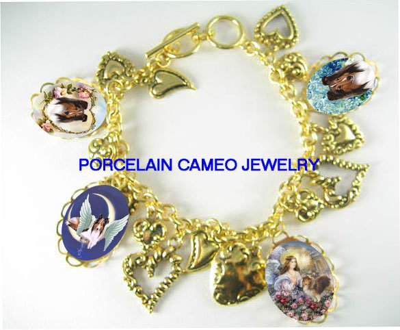 ANGEL SHELTIE DOG ROSE FORGETMENOT HEART CHARM BRACELET