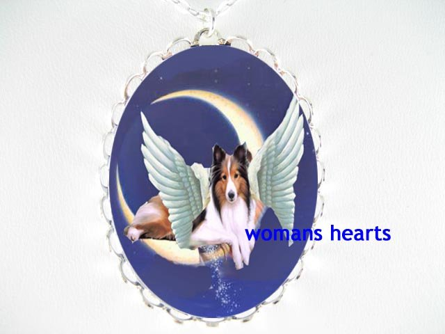 ANGEL WING SHELTIE DOG MOON DUSTING STARS PORCELAIN NECKLACE