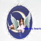 ANGEL WING SHELTIE DOG MOON DUSTING STARS PORCELAIN NECKLACE