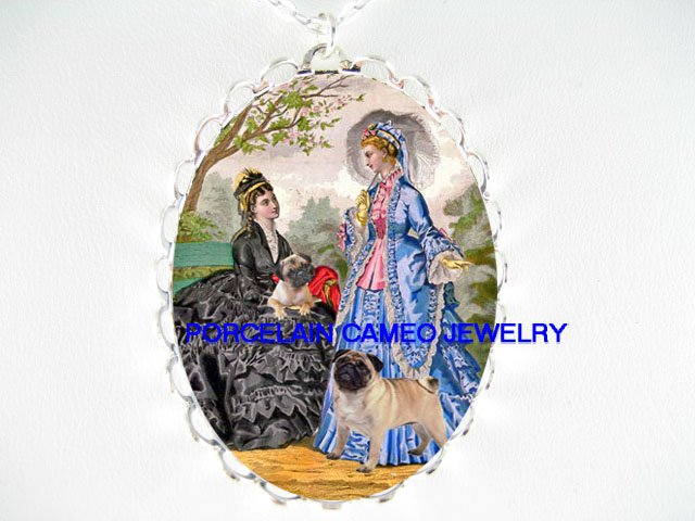 VICTORIAN LADY FRIEND WALKING 2 PUG DOG CAMEO NECKLACE