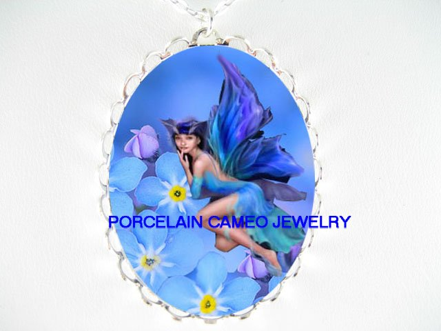 FORGET ME NOT BUTTERFLY FAIRY PORCELAIN CAMEO NECKLACE