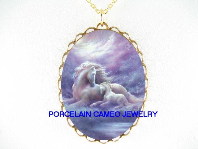 PURPLE UNICORN HORSE MOM CUDDLE BABY CAMEO NECKLACE