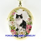 BLACK WHITE CAT ROSE PORCELAIN CAMEO LOCKET NECKLACE