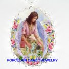 ANGEL CUDDLING 2 KITTY CAT ROSE PORCELAIN CAMEO NECKLAC