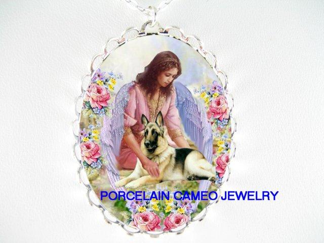 ANGEL CUDDLING GERMAN SHEPHERD DOG ROSE CAMEO NECKLACE
