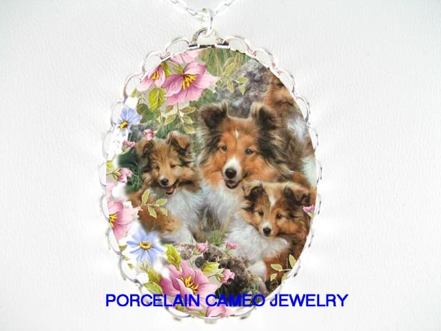 3 SHELTIE DOG MOM PUPPY FAMILY ROSE* CAMEO PORCELAIN NECKLACE