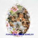 3 SHELTIE DOG MOM PUPPY FAMILY ROSE* CAMEO PORCELAIN NECKLACE