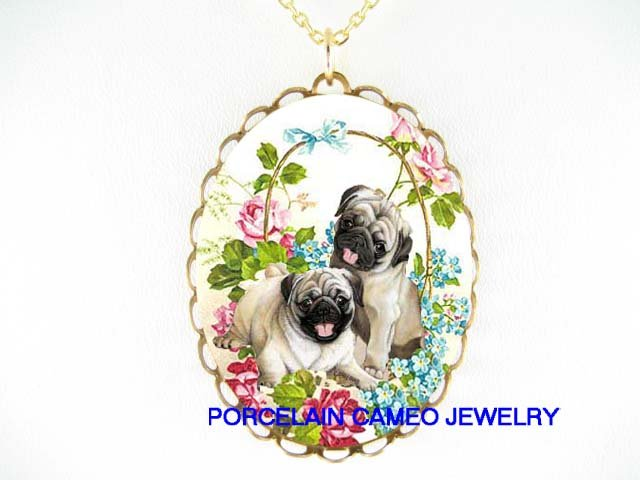 2 PUG DOG ROSE FORGET ME NOT CAMEO PORCELAIN NECKLACE