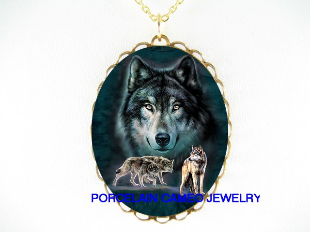 4 HUNTING WOLF WOLVES PACK PORCELAIN CAMEO NECKLACE