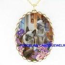 2 BLUE EYES SIAMESE CAT CAMEO IRIS LILY CAMEO NECKLACE