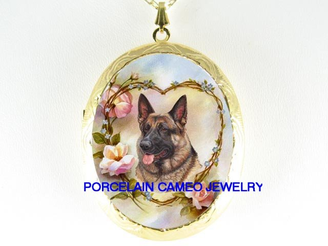 GERMAN SHEPHERD DOG ROSE HEART PORCELAIN CAMEO LOCKET