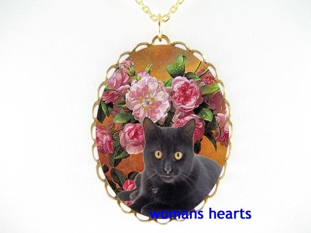 BLACK CAT WITH PINK ROSE CAMEO PORCELAIN NECKLACE