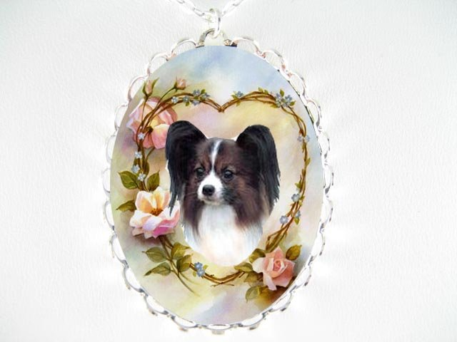 PAPILLON DOG FORGETMENOT ROSE PORCELAIN CAMEO NECKLACE