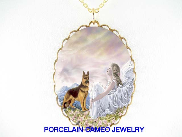 GERMAN SHEPHERD DOG ANGEL MOUNTAIN* CAMEO PORCELAIN NECKLACE