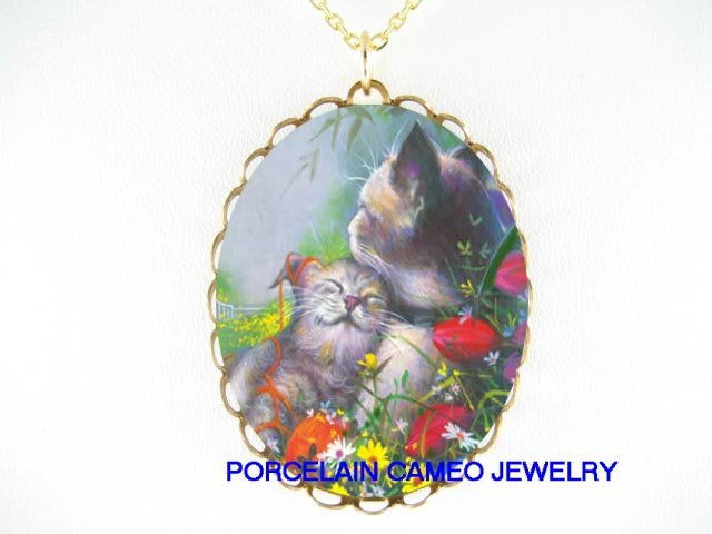 2 CUDDLING CAT MOM CUDDLING KITTY* CAMEO PORCELAIN NECKLACE