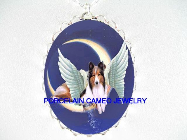 ANGEL WING SHELTIE DOG MOON PORCELAIN CAMEO NECKLACE