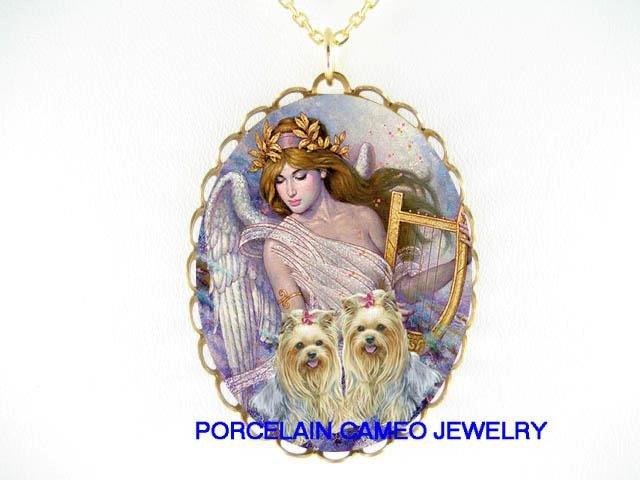 2 YORKSHIRE TERRIER DOG ANGEL CAMEO PORCELAIN NECKLACE