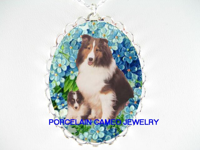 SHELTIE SHEEPDOG MOM PUPPY FORGETMENOT PORCELAIN NECKLACE
