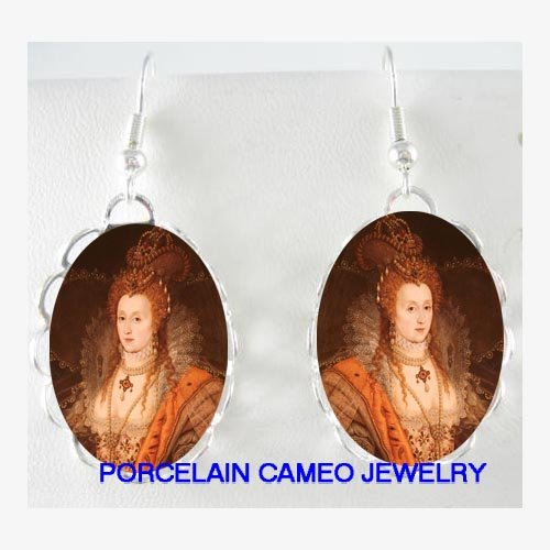 JEWELED QUEEN ELIZABETH PORCELAIN CAMEO EARRINGS