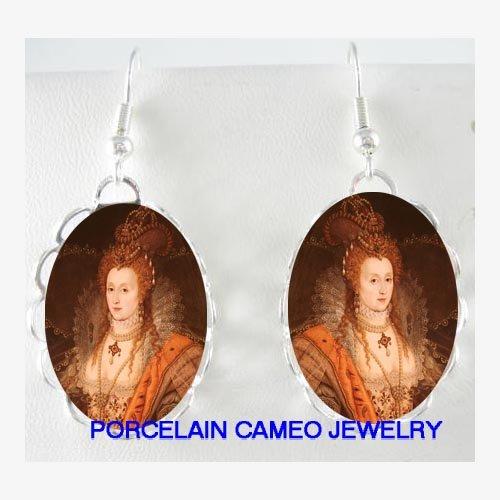 JEWELED QUEEN ELIZABETH PORCELAIN CAMEO EARRINGS