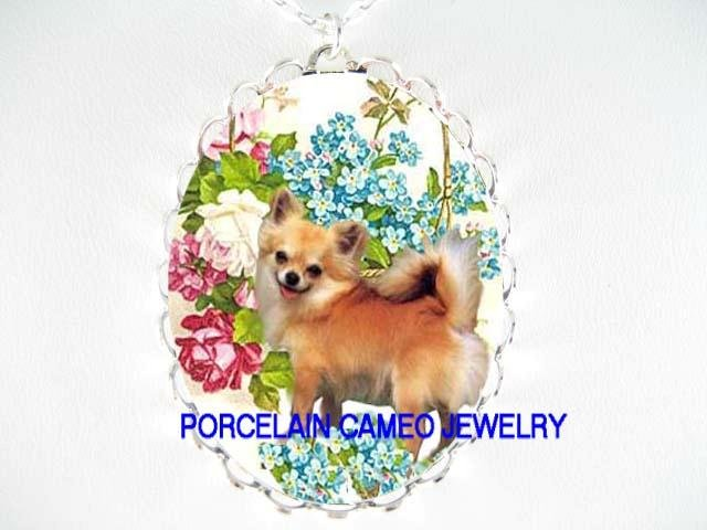 LONG HAIR CHIHUAHUA DOG ROSE FORGETMENOT CAMEO NECKLACE