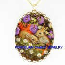 2 RABBIT BUNNY PANSY DAISY CAMEO PORCELAIN NECKLACE