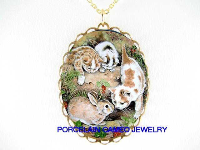 BUNNY RABBIT WITH THREE KITTY CAT* CAMEO PORCELAIN NECKLACE