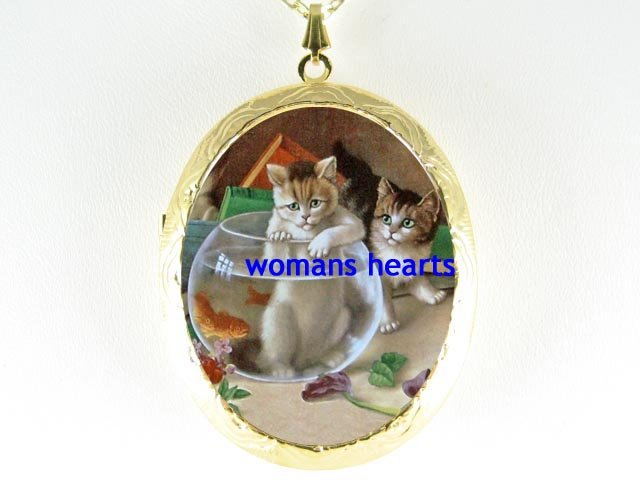 2 VINTAGE CAT IN GOLDFISH BOWL CAMEO PORCELAIN LOCKET