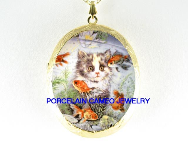 GRAY KITTY CAT WATCHING GOLDFISH*  CAMEO PORCELAIN LOCKET NECKLACE