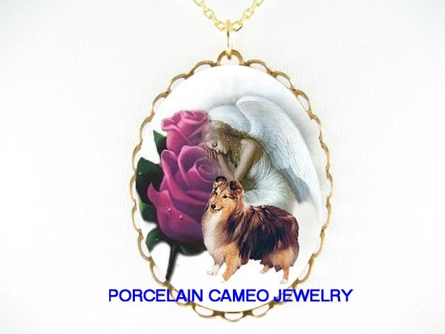 ANGEL PURPLE ROSE SHELTIE DOG PORCELAIN CAMEO NECKLACE