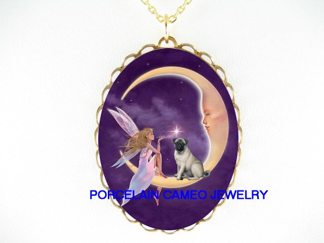 PUG DOG DRAGONFLY FAIRY MOON CAMEO PORCELAIN NECKLACE