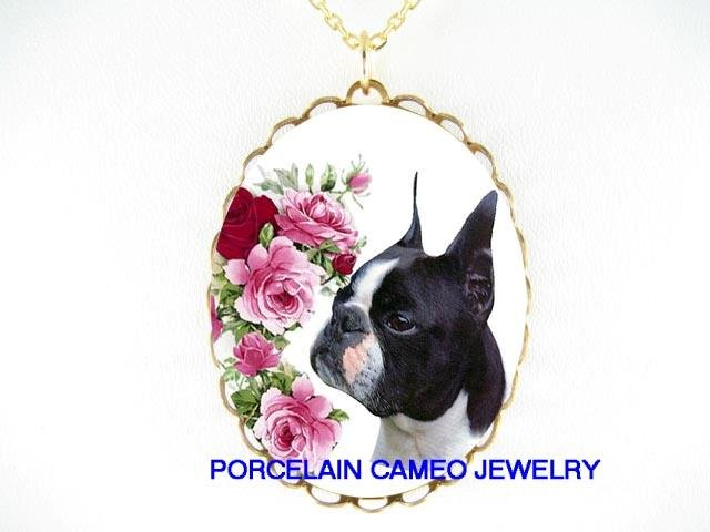 BOSTON TERRIER DOG ENGLISH ROSE PORCELAIN CAMEO NECKLACE
