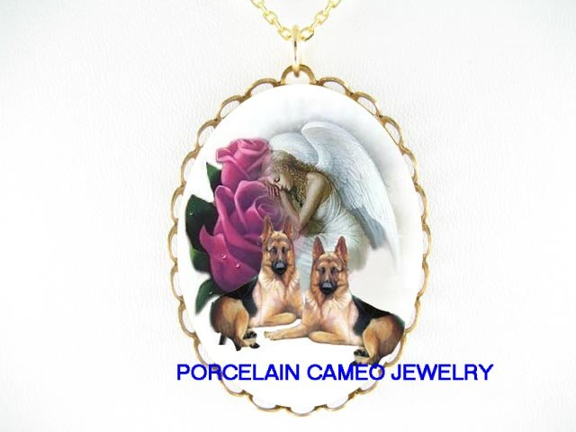 2 GERMAN SHEPHERD DOG ANGEL PURPLE ROSE CAMEO NECKLACE