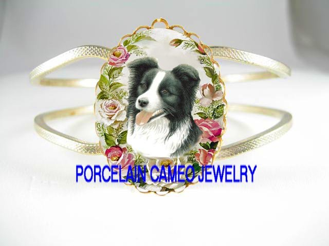 BORDER COLLIE DOG WITH ROSE CAMEO PORCELAIN VINTAGE BRACELET