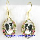 BORDER COLLIE DOG WITH ROSE CAMEO PORCELAIN EARRINGS