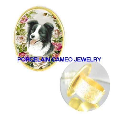 BORDER COLLIE DOG WITH ROSE CAMEO PORCELAIN ADJ RING 5-9