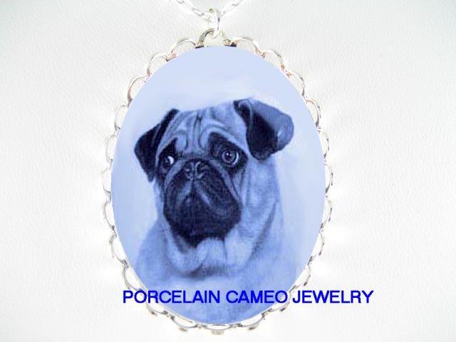 DANISH BLUE SWEET PUG DOG CAMEO PORCELAIN NECKLACE
