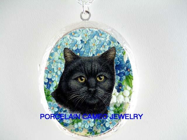 BLACK CAT FORGET ME NOT PORCELAIN CAMEO LOCKET NECKLACE