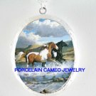 2 BLACK BROWN APPALOOSA HORSE RUN CAMEO LOCKET PORCELAIN NECKLACE