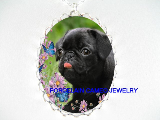BLACK PUG DOG BUTTERFLY DAISY CAMEO PORCELAIN NECKLACE
