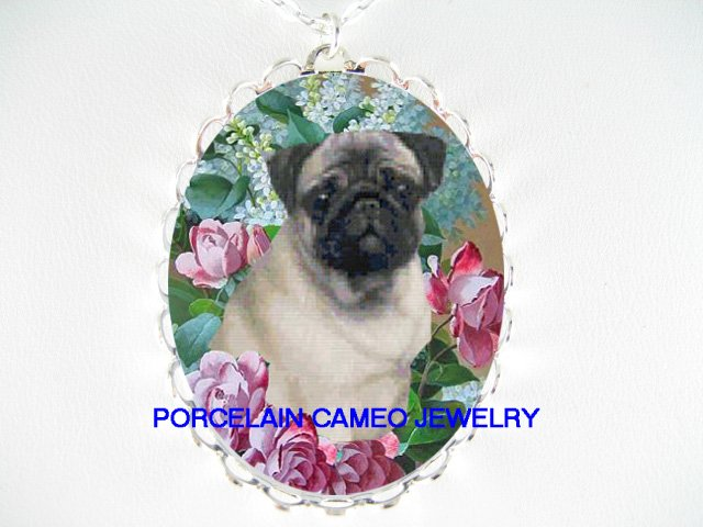 PUG DOG VICTORIAN ROSE LILACS PORCELAIN CAMEO NECKLACE