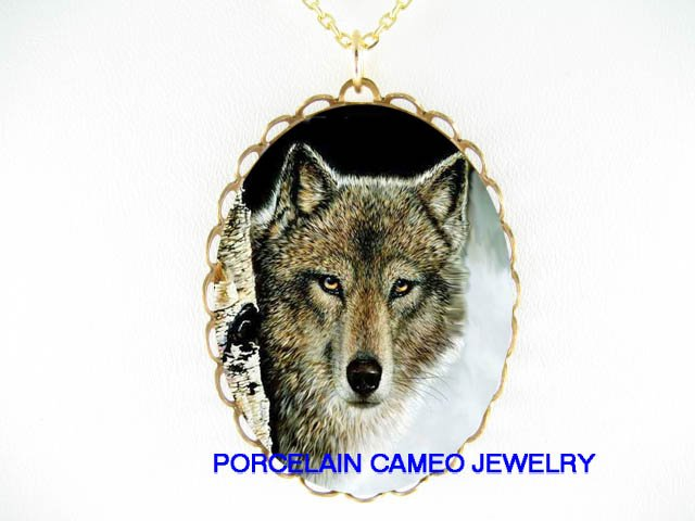 GREY WOLF IN THE SNOW FOREST* CAMEO PORCELAIN NECKLACE